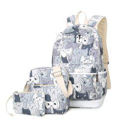 Side Pockets Cat Print Backpack Set - GRAY