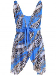 Graceful Plunging Neck Chain and Leopard Print Asymmetrical One-Piece Swimwear For Women - BLUE 2XL