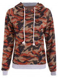 Camo Print Drawstring Pullover Hoodie - CAMOUFLAGE COLOR 2XL
