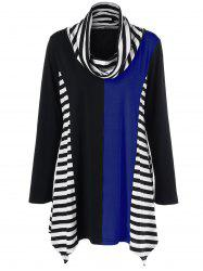 Cowl Neck Striped Trim Asymmetrical T-Shirt