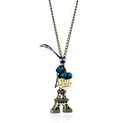 Eiffel Tower Bowknot Beads Sweater Chain - BRONZE-COLORED