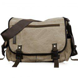 Canvas Double Pocket Zipper Messenger Bag