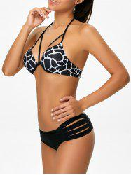 Halter Print Moulded Bikini Set - BLACK XL