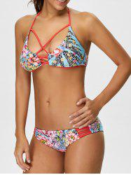 Cut Out Floral Halter Bikini Set -