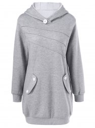 Button Decorated Pockets Longline Hoodie -