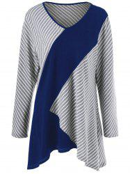 Plus Size Striped Asymmetrical T-Shirt