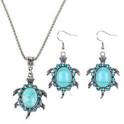 Collier et boucles d'oreille fausse turquoise forme tortue - Cyan