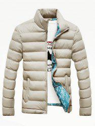 Side Pocket Stand Collar Zip Up Padded Jacket
