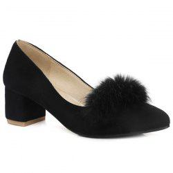 Faux Fur Block Heel Pumps