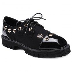 Square Toe Eyelets Tie Up Flat Shoes - BLACK