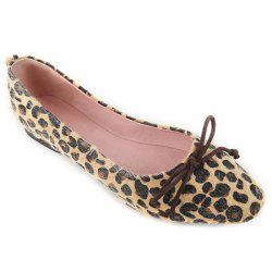 Leopard Print Bow Flat Shoes - BLACK