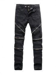 Zipper Embellished Spliced Five-Pocket Straight Leg Jeans - BLACK