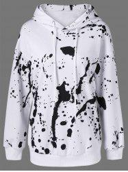 Splatter Paint Pullover Hoodie - WHITE AND BLACK L