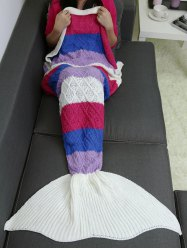 Striped Crochet Knit Rhombus Home Decor Mermaid Blanket Throw
