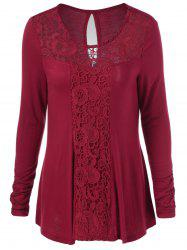 Cut Out Lace Trim T-Shirt