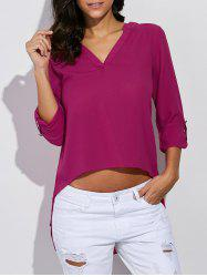 V Neck Asymmetrical Chiffon Blouse