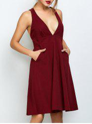 Plunging Neck Empire Waist Sleeveless Dress