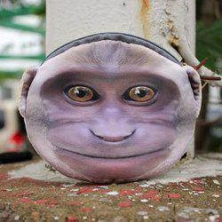 3D Monkey Painted Coin Purse - PURPLE