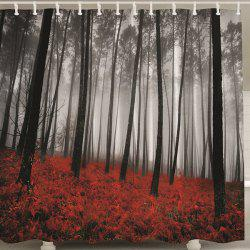 Waterproof Forest Print Shower Curtain with Hook