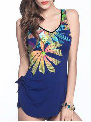 V Neck Backless Printed One Piece Swimsuit