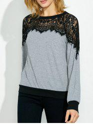 Lace Panel Two Tone Sweatshirt - BLACK AND GREY XL