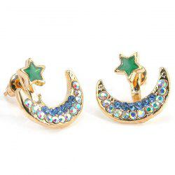 Rhinestone Star Moon Earrings