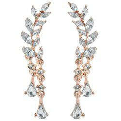 Rhinestone Tree Leaf Teardrop Earrings