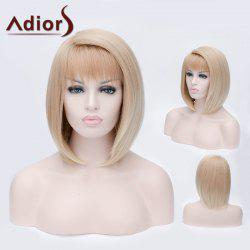 Adiors Short Side Bang Silky Straight Bob Party Synthetic Wig - COLORMIX