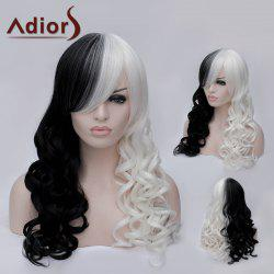 Adiors Long Side Bang Double Color Fluffy Wavy Party Synthetic Wig