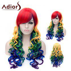 Adiors Long Side Bang Colorful Fluffy Wavy Party Synthetic Wig