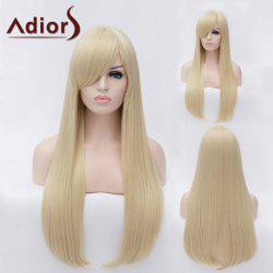Adiors Long Natural Straight Inclined Bang Party Synthetic Wig - LIGHT GOLD