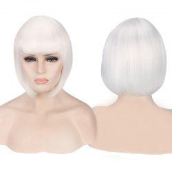 Candy Color Short Neat Bang Straight Synthetic Cosplay Wig - WHITE