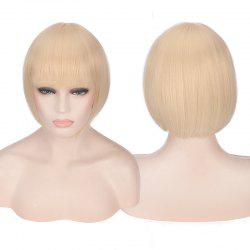 Candy Color Short Neat Bang Straight Synthetic Cosplay Wig - PALOMINO
