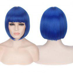 Candy Color Short Neat Bang Straight Synthetic Cosplay Wig - BLUE