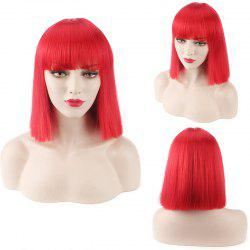 Candy Color Medium Neat Bang Straight Synthetic Cosplay Wig - RED