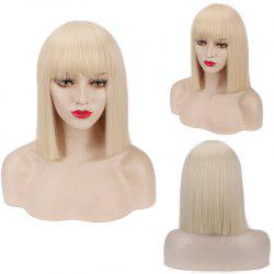 Candy Color Medium Neat Bang Straight Synthetic Cosplay Wig - PALOMINO