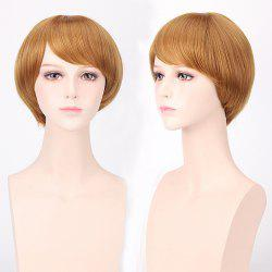 Short Oblique Bang Straight Harajuku Synthetic Cosplay Wig - GOLDEN