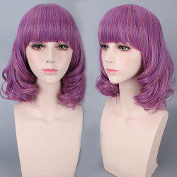 Medium Neat Bang Culrly Harajuku Synthetic Cosplay Wig - VIOLET