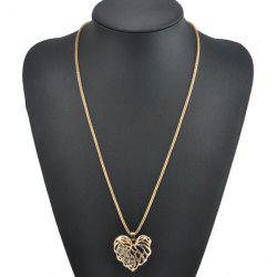 Rhinestone Heart Sweater Chain - GOLDEN