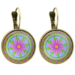 Clip on Earrings with Flower Pattern Round Pendant