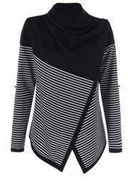 Cowl Neck Surplice Striped Knitwear