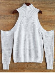 Funnel Neck Cutout Shoulder Sweater