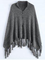 Button Front Marled Tasselled Poncho