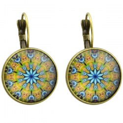 Clip on Earrings with Snowflake Pattern Round Pendant