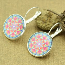 Clip on Earrings with Heart Pattern Round Pendant