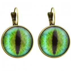 Clip on Earrings with Cat Eye Pattern Round Pendant