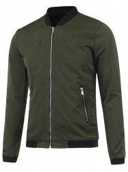 Zip Up Stand Collar Bomber Jacket