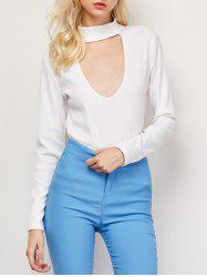 High Neck Cut Out Long Sleeve Fitted T-Shirt