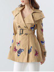 Butterfly Embroidered Double-Breasted Skirted Trench Coat