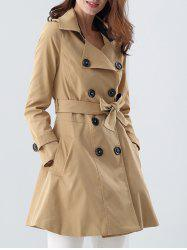 Double Breasted Skirted Tie Belt Trench Coat